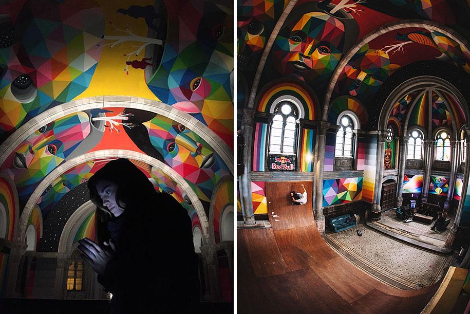 kościół przekształcony w skate park