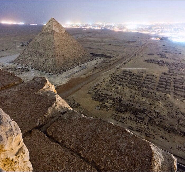 An illegal picture atop the Giza pyramids in Egypt - Imgur