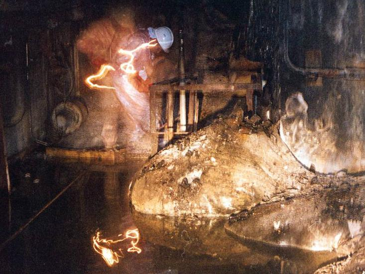 "The molten radioactive core after the Chernobyl accident. Known as the ""Elephant's foot"" - Imgur"