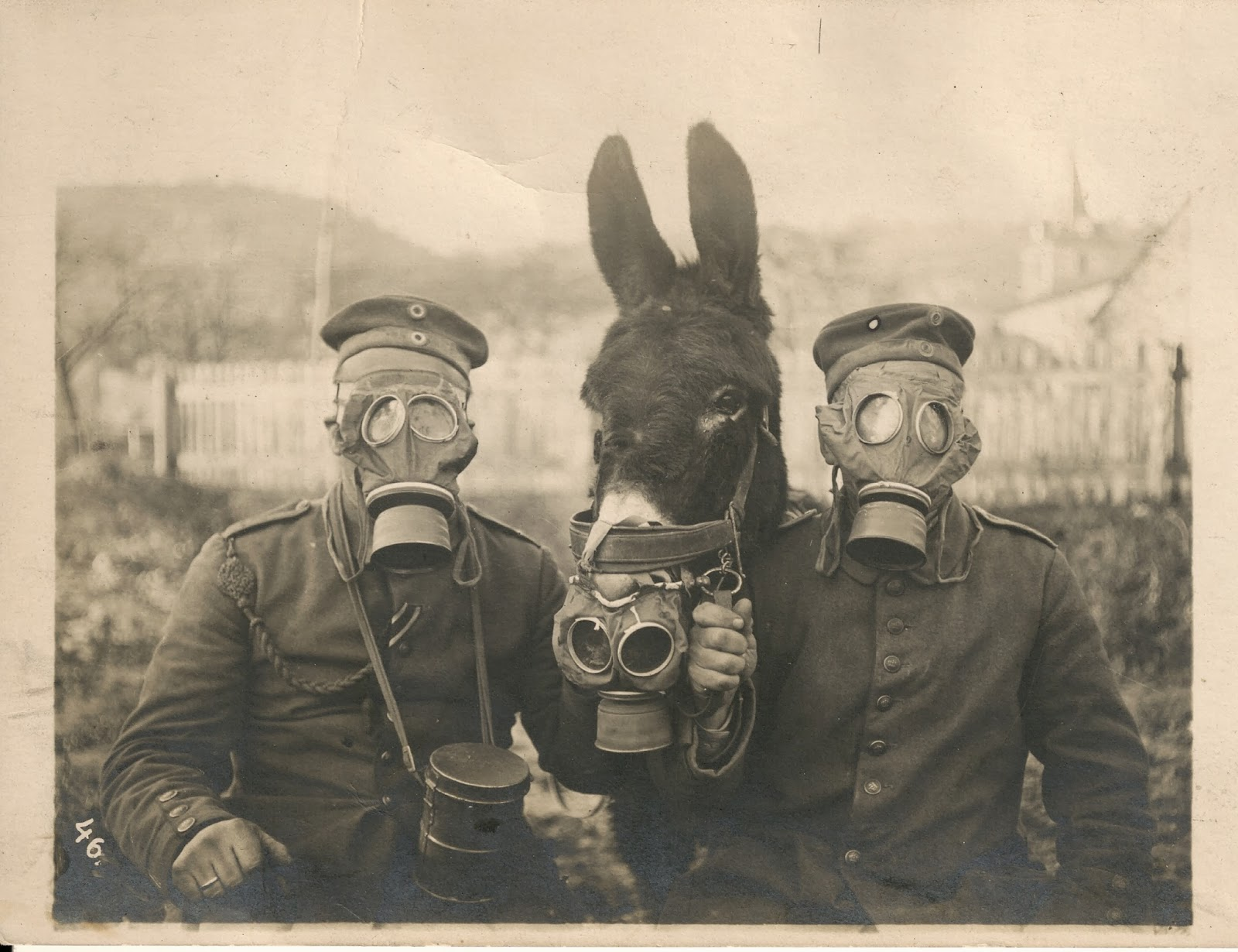 Two German soldiers and their mule wearing gas masks in WWI, 1916 - Imgur
