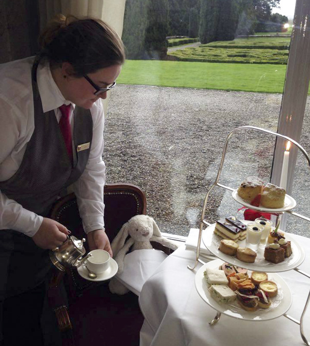 """""""Getting used to this, afternoon tea at Adare Manor"""""""