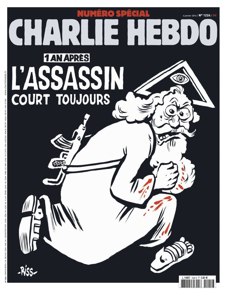 epa05087449 An undated handout picture provided by Majorelle PR Agency on 04 January 2016 shows the cover of the special issue #1224 of the French satirical weekly Charlie Hebdo with a cartoon of a bearded god carrying a kalashnikov reading '1 an apres. L'assassin court toujours' (lit: One year later.The murderer is still on the run). The frontpage and the editorial by Chief Editor Riss to be published on 06 January 2016 aims to condemn religious fanatism. A series of national commemorations will mark the first anniversary of the terror attacks at the Charlie Hebdo offices that took place on 07 January 2015. EPA/CHARLIE HEBDO/MAJORELLE PR/HANDOUT HANDOUT EDITORIAL USE ONLY/NO SALES Dostawca: PAP/EPA.
