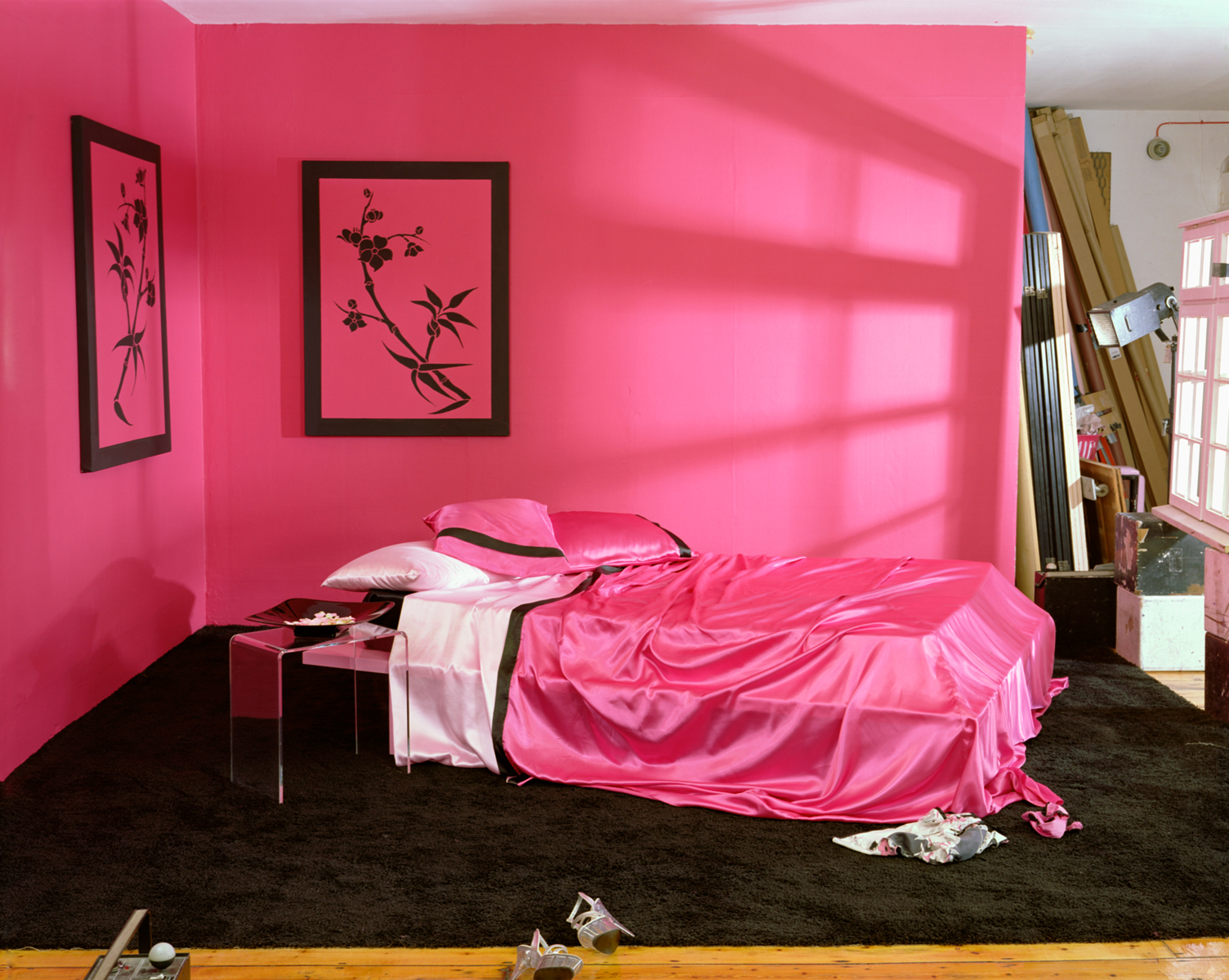Empty Porn sets, Pink Satin sheets