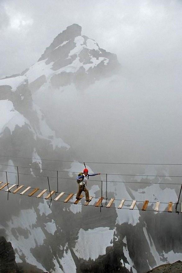 Sky walking on Mount Nimbus, Canada