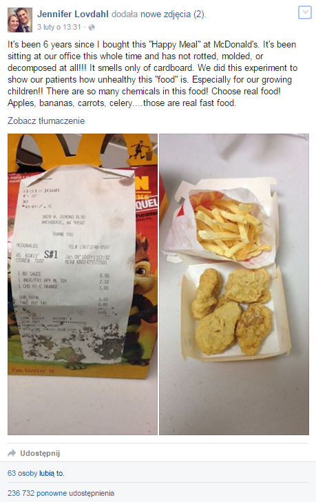 jedzenie z mcdonald's nie gnije