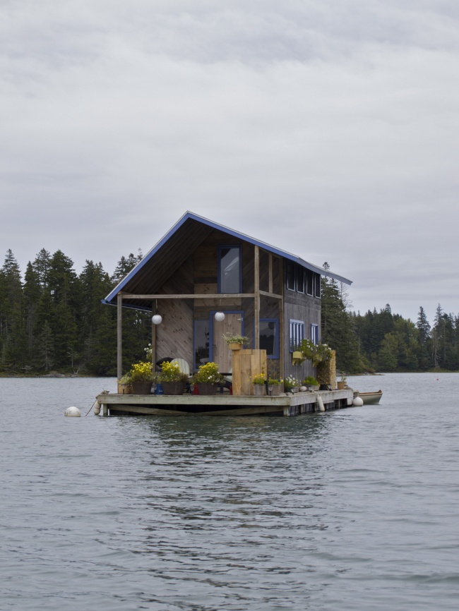 A floating hand-built cottage in Maine, USA.