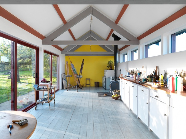 An artist's home studio with an independent energy supply in Suffolk, England.