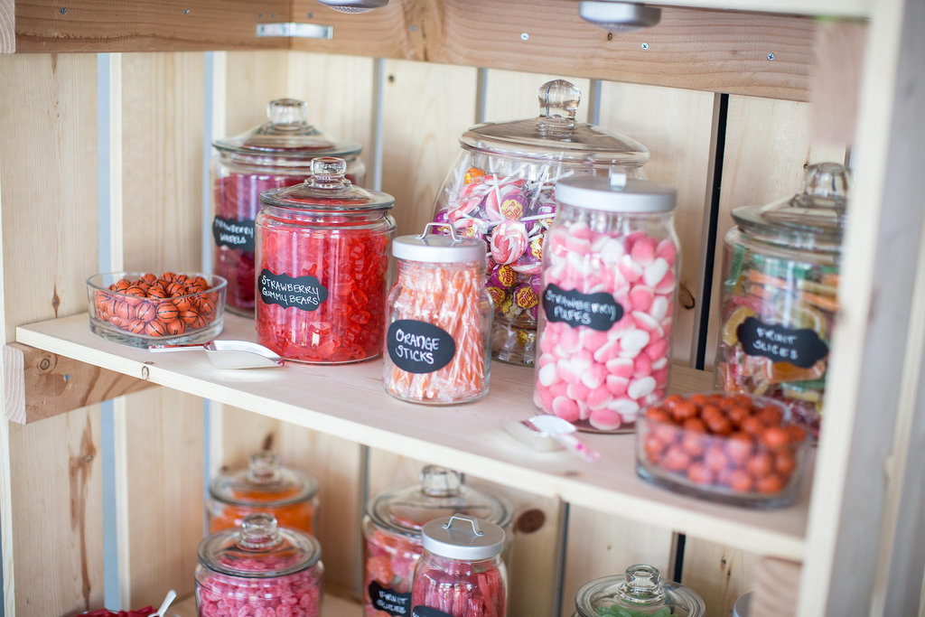 Brighten up the reception with pink candy galore.