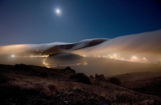 Fog over San Francisco, USA.