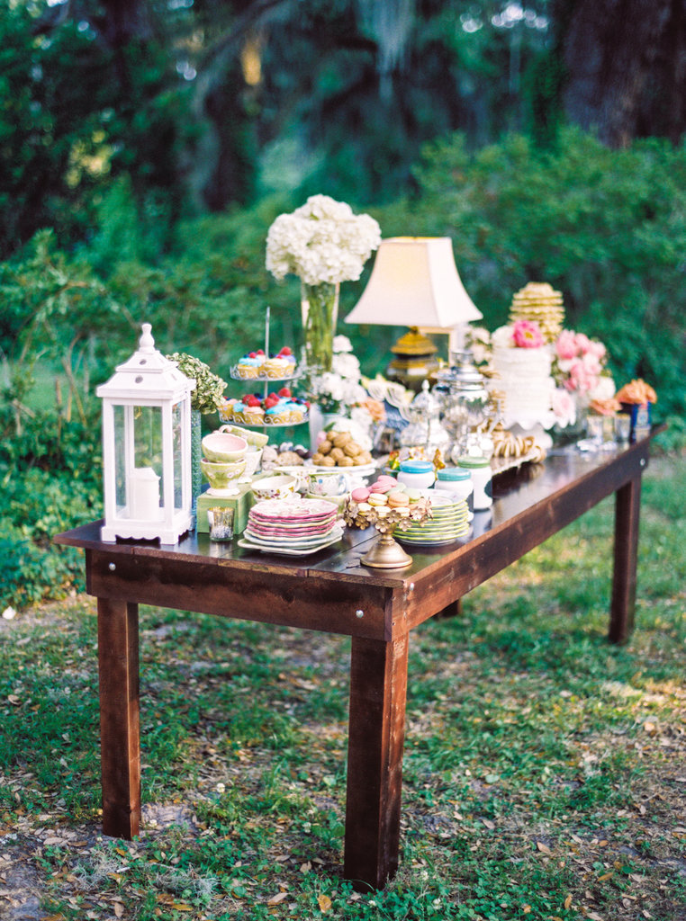 For a colorful display outdoors, create your own sweets station with your favorite treats.