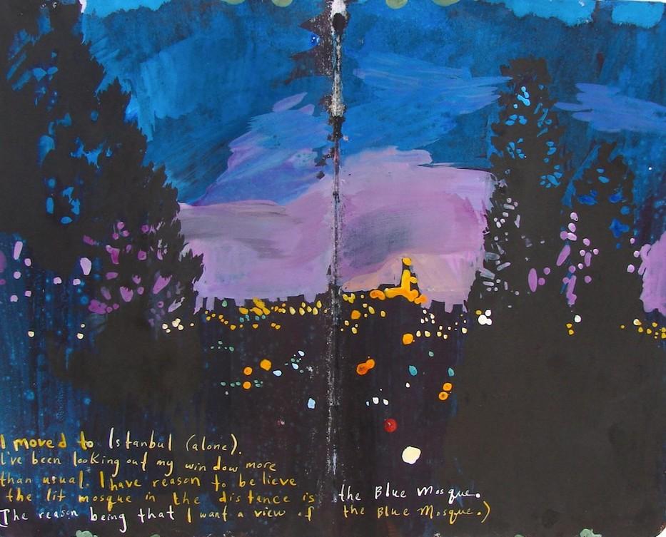 Artystka maluje sceny ze swoich podróży