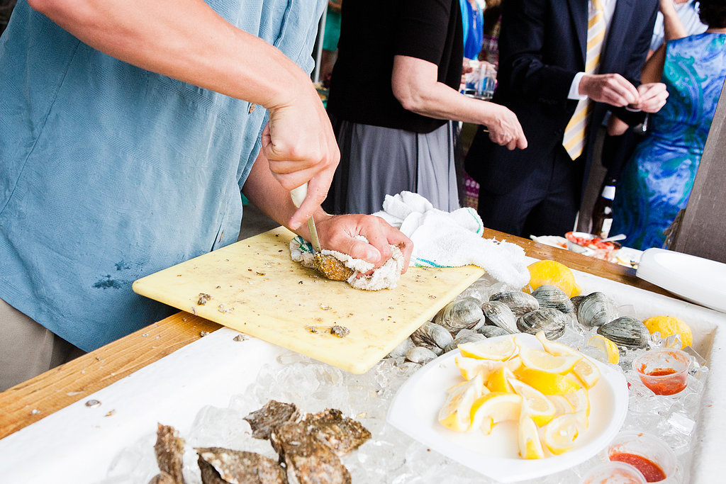 Only at an outdoor Spring or Summer wedding could you get away with an oyster station.