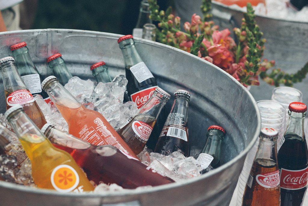 Put nonalcoholic drinks on display in cute ice buckets.