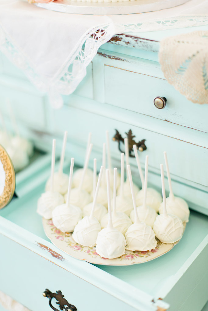 White chocolate truffles and pastel-blue decor are a match made in heaven.