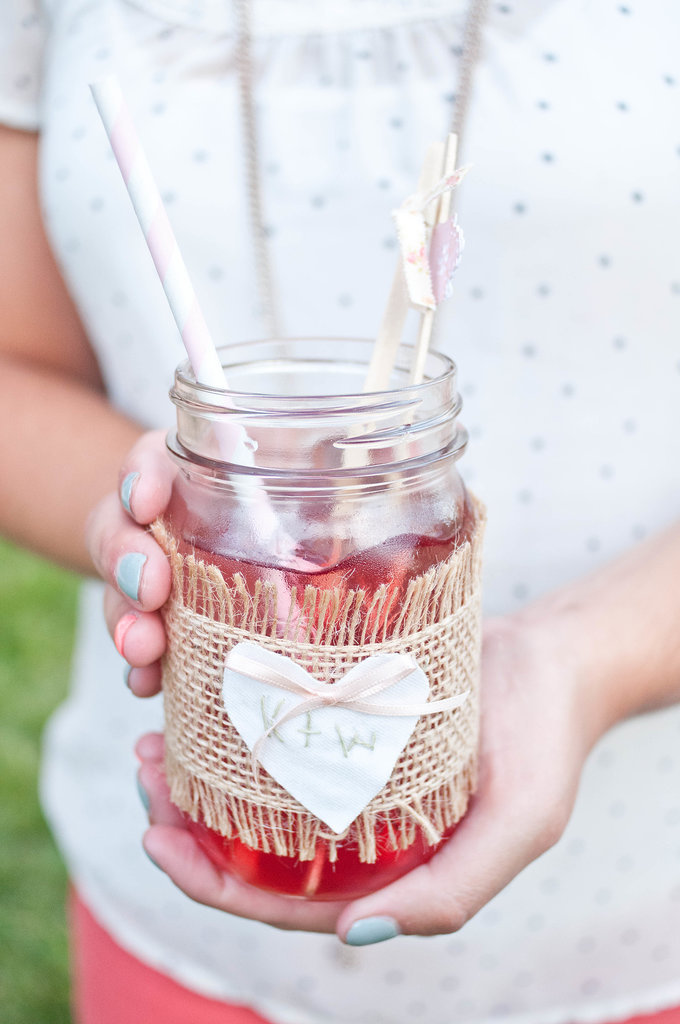 Your guests are sure to love DIY personalized mason jars.