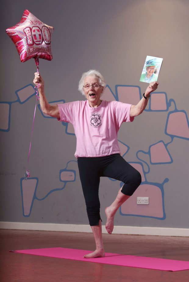 Picture: Lorne Campbell / Guzelian Jean Dawson of Cottlngley, near Bingley, West Yorkshire, who celebrated her 100th birthday at the weekend (20 February). She attends a weekly Yoga class in nearby, Shipley. WORDS BY GUZELIAN A 100-year-old great grandmother is still a picture of health thanks to over 30 years of dedication to yoga. Jean Dawson, from Cottingley, West Yorkshire, has been bended and twisting her body almost every single week for the past three decades. ìI must have good genes,î explained Mrs Dawson, who has five grandchildren and two great grand children. ìI really enjoy doing yoga. It has really changed my life and has helped cure aches and pains. I use to have trouble from a slipped disc in my back but doing yoga really helped me cope with it.