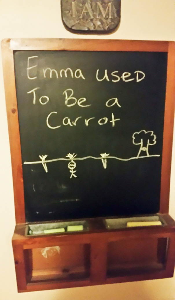 #16 My Brother Teases Our Little Sister With Chalkboard Drawings Every Day. This Was Today's