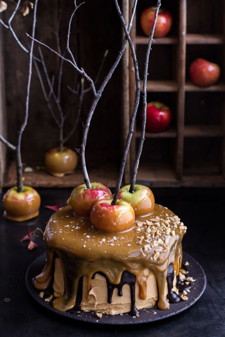 A caramel apple cake modeled after a creepy forest.