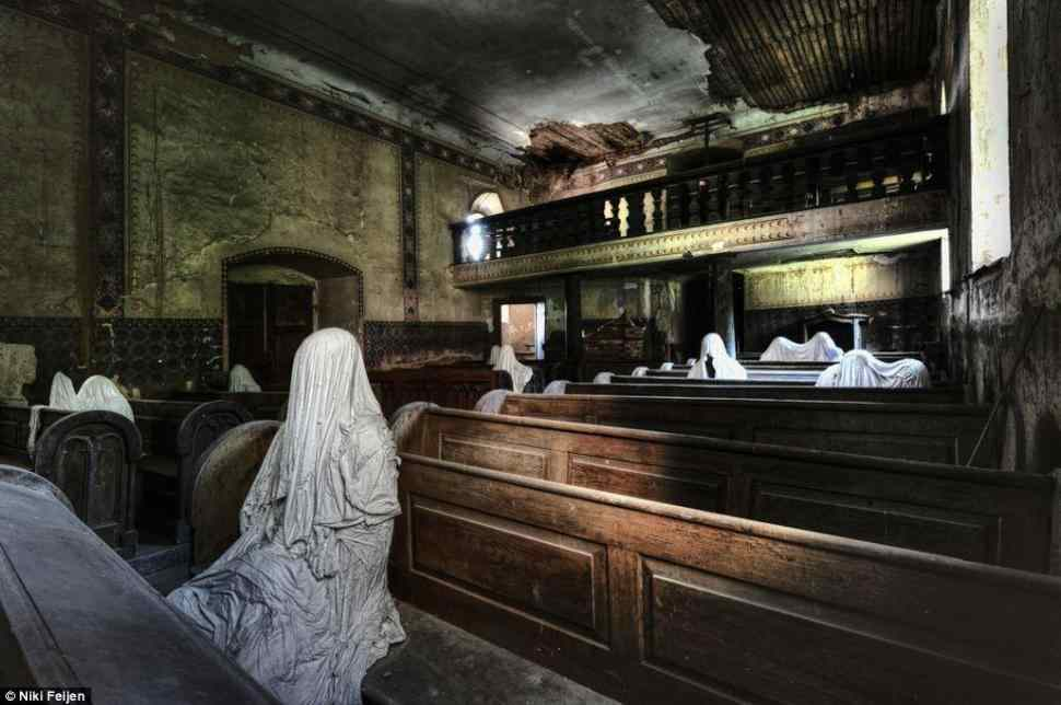 ABANDONED CHURCH WITH A FEW LINGERING PARISHIONERS, NETHERLANDS