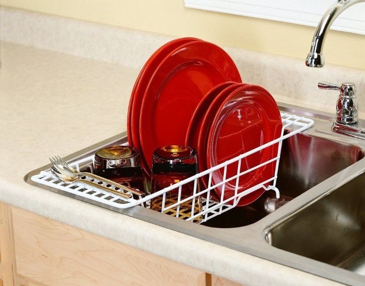 An over-the-sink dish drainer.