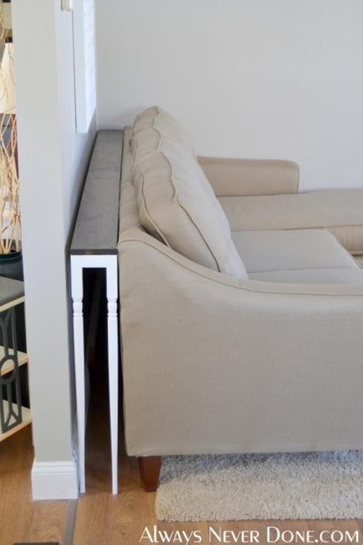 An uber-skinny sofa table.