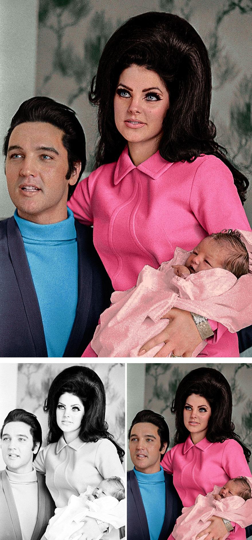Elvis Presley, Priscilla Presley And Lisa Marie