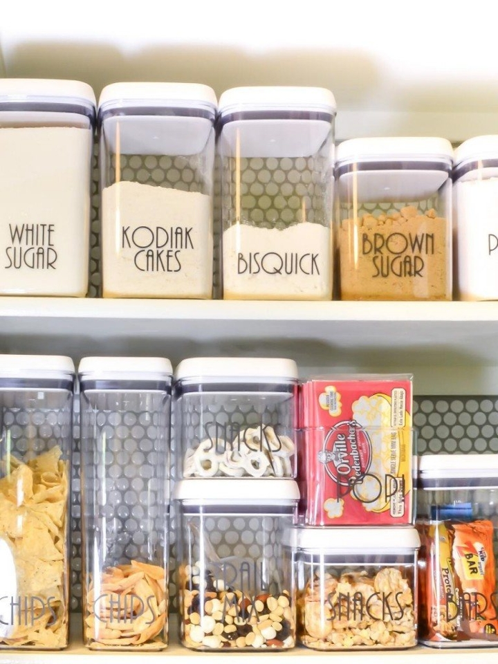 Putting dry goods in stackable containers.