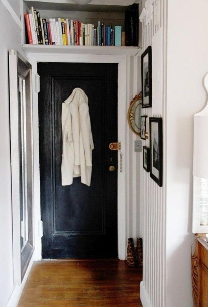 Shelving over doorways.