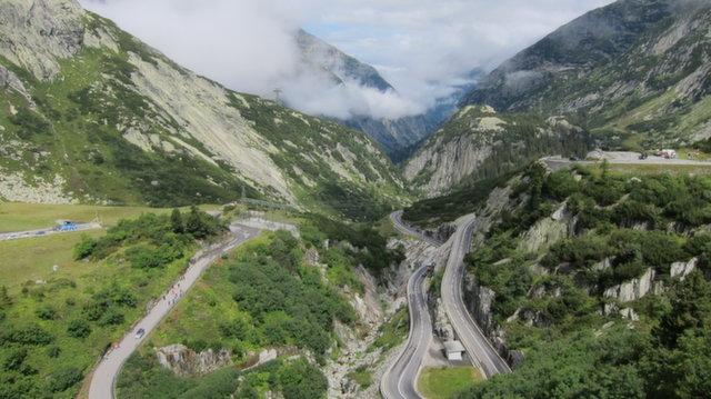 Switchbacks on Grimselpass (Switzerland)