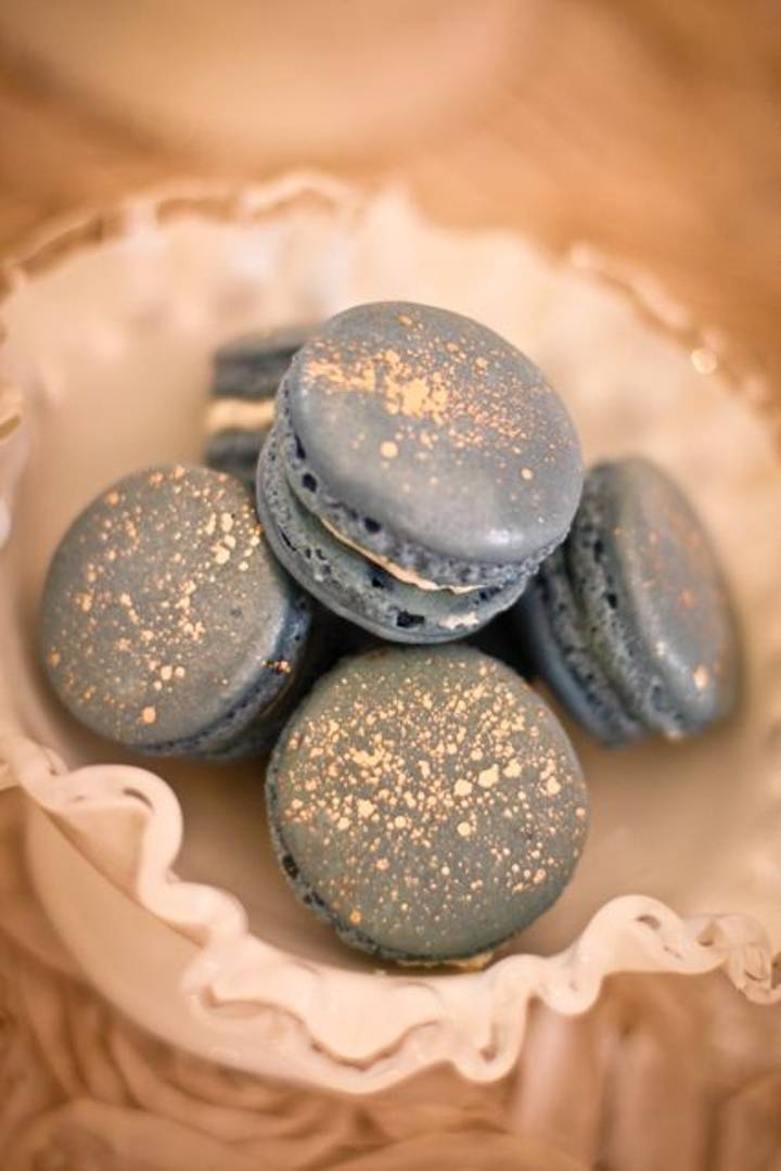 ome antiquated macarons, dusted with gold.