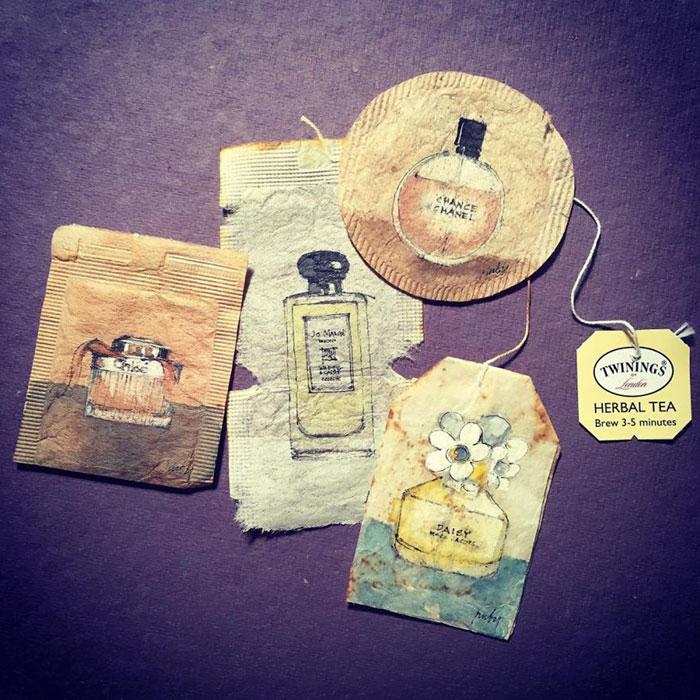 rysunki na zużytych torebkach do herbaty