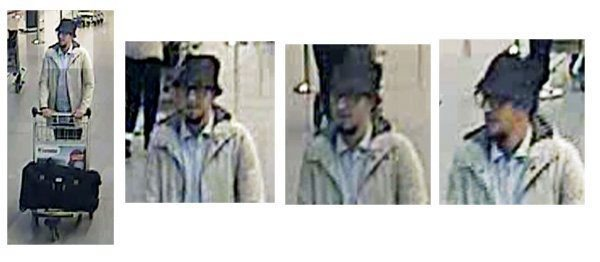 epa05226546 A handout image provided by Belgian Federal Police shows a CCTV grab of one of the three suspects in the Zaventem airport attack in Brussels, Belgium, 22 March 2016. A surveillance camera at Zaventem airport in Brussels captured footage of the alleged perpetrators of the explosions that took place earlier the day. It reveals two men dressed in black and both wearing one glove on their left hand, which according to La Libre Belgique could have served to conceal the detonators. The third (pictured), dressed in a white jacket and wearing a black hat, is being 'actively pursued' in the meantime, according to Belgian newspapers.  EPA/BELGIAN FEDERAL POLICE / HANDOUT BEST QUALITY AVAILABLE HANDOUT EDITORIAL USE ONLY/NO SALES  Dostawca: PAP/EPA.
