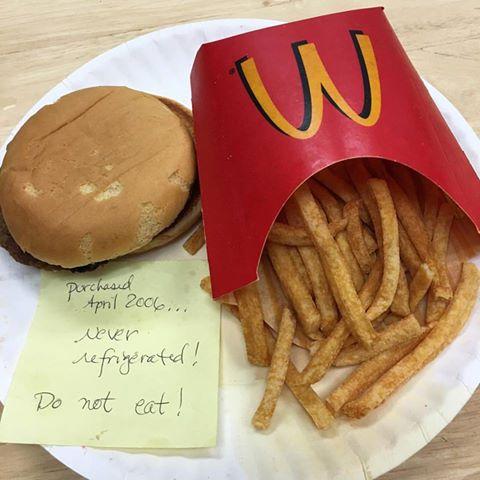 mcdonald's jedzenie nie gnije