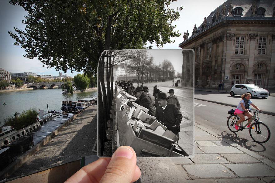 Historyczne i współczesne zdjęcia Paryża