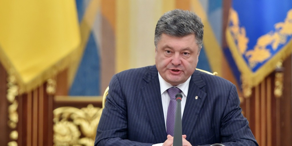 Ukrainian President Petro Poroshenko speaks during a National Security and Defence Council sitting in Kiev on June 16, 2014. Poroshenko said during the opening of the sitting that a ceasefire was the beginning of his peace plan for resolving the conflict in eastern Ukraine. AFP PHOTO/ SERGEI SUPINSKY (Photo credit should read SERGEI SUPINSKY/AFP/Getty Images)
