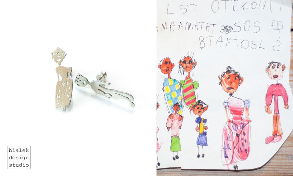 biżuteria z rysunku dziecka