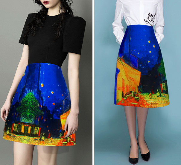 dzieła sztuki, przekształcone w ubrania
