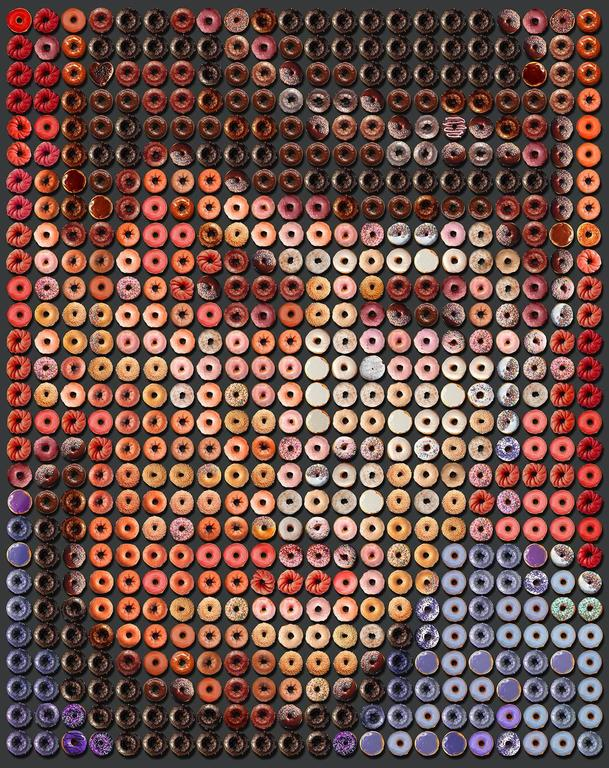 portrety sławnych ludzi, zrobione wyłącznie z donutów