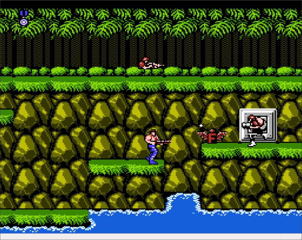 Co działo się z postacią w grze Contra po wpadnięciu do wody?