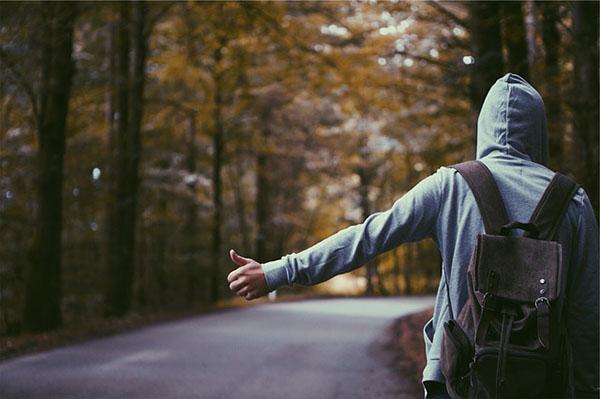 Hitchhiker Hoodie Thumb Guy Man Backpack Knapsack