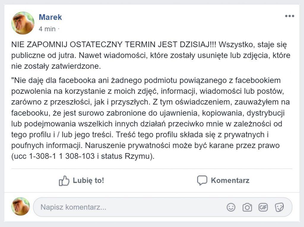 łańcuszek facebook